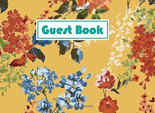 Floral Chintz (Guest Book: Vintage Floral Chintz Mustard Pattern With Coral Writing Cover - 140 Pages for Guests Comments - 8.25