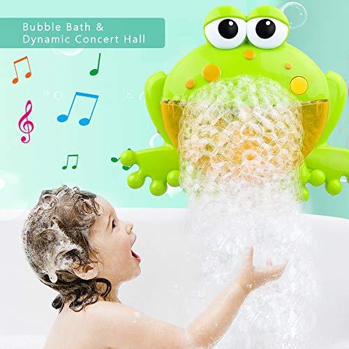 FOONEE Máquina de Burbujas de Baño para Niñ 12 Nursery Rhymes Máquina de Burbujas de Ranas para Niños-  La Máquina de Burbujas para Bebés Brinda a los Niños un Momento de Baño