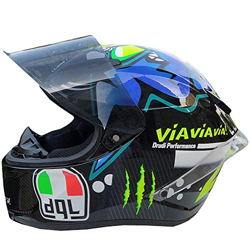 YASULE Fashion Cool Shark Motocross Helm, Männer Und Frauen Lokomotiv Racing Mountainbike ATV Kart Roller Integralhelm, DOT Certified Helm,M:55~57cm