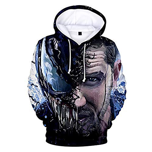 TOOSD Herren Hoodies, Spider-Man Jersey, Venom Sweatshirt, Sports Sweater, Youth Sweatshirt, Unisex Sweatshirt, Casual Sweatshirt,D,XL (Spiderman-venom-hoodie)