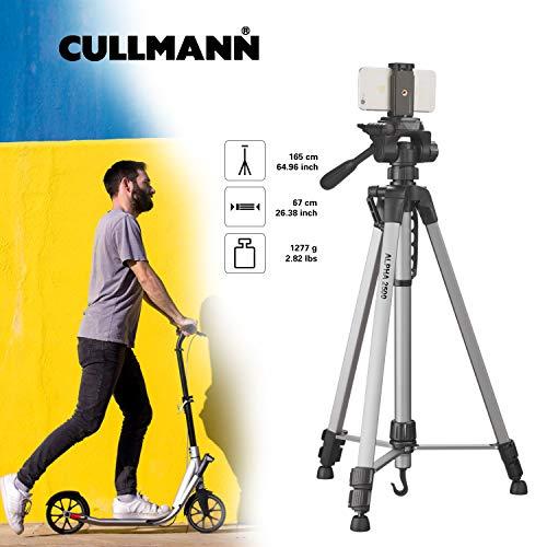 Cullmann ALPHA 2500 Stativ mobile mit Smartphonehalter (165cm Höhe, Gewicht 1258g, Tragfähigkeit 2, 5 kg, Packmaß 67cm, 3-Wege-Kopf), schwarz