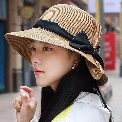 YUHUS Home Sommer-Strohhutfrau des Hutes weibliche faltende große Kappenhüte der Fliegen-Visier entlang dem sandigen Strand von Yuan-Kappe, Brown -