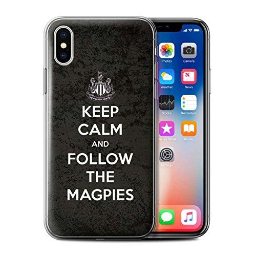 Officiel Newcastle United FC Coque / Etui Gel TPU pour Apple iPhone X/10 / Amour Toon Design / NUFC Keep Calm Collection Suivez/Magpies