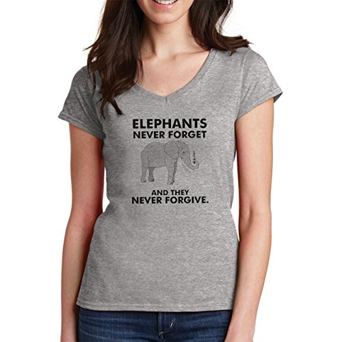 Elephants Never Forget And They Never Forgive XXL Donne V-Neck T-Shirt