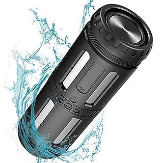 Bluetooth Lautsprecher, 30 Stunden Spielzeit, Starkem Bass, IPX67 Wasserdicht Outdoor Lautsprecher mit LED Light, 5200 mAh Power Bank und Eingebauten Mikrofo fur Bergsteigen fur Camping, Reisen