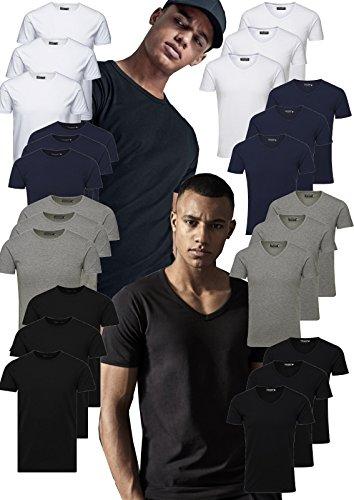 JACK & JONES 3er Pack Herren T-Shirt Basic V-Ausschnitt oder Rundhals einfarbig Slim Fit in weiß schwarz blau grau inkl GRATIS Wäschenetz von B46