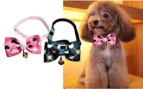 Set von 2Pet Bow Ties Grün & Rosa Herzen mit Glocke & Verstellbare Halsband für Hunde und Katzen-Hals Größe: 19,1cm-38,1cm -
