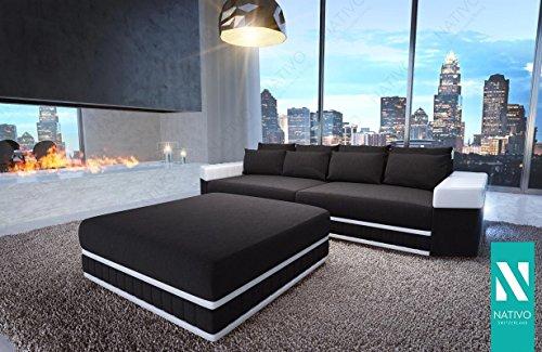 Modernes Big Sofa Skyline Kunstledersofa Mit Led Beleuchtung Nativo
