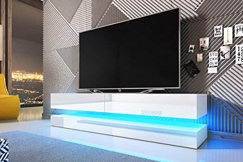 Aviator   Mesa Flotante Para TV / Mueble TV Colgante / Unidad de pared para TV (140 cm, Blanco Mate / Frentes Blancos en Brillo con iluminación LED Azul)