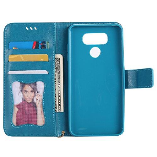 nuovo stile 72e90 a8d70 Custodia LG G6 Cover, JAWSEU LG G6 Custodia Pelle Portafoglio Ragazza  Floreale Uccello di Gatto Lusso 3D Modello Creativo Luminoso PU Leather  Wallet ...