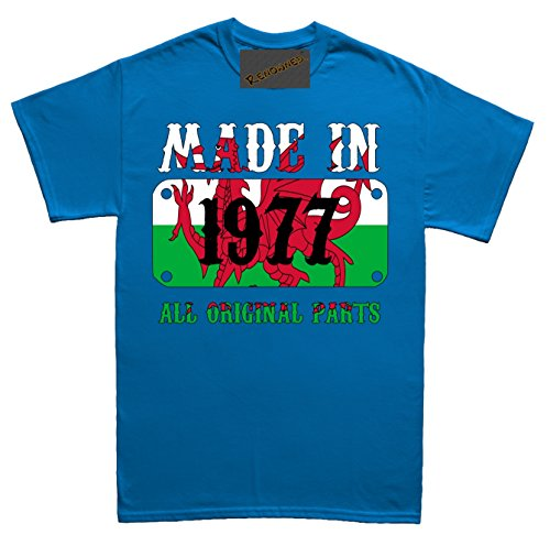 Renowned Made in Wales in 1977 all original Parts Welsh Flag inside Unisex - Kinder T Shirt Blau
