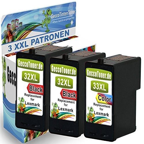 3er Set Druckerpatronen Als Ersatz für Lexmark 32 XL + 33 XL für Lexmark Z810 Z815 X3310 X3330 X3340 X5210 X5250 X5470 X7170 X7350 X71170 X7300 (Lexmark Tintenpatronen X5470 Für)