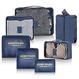 Newdora Organisateurs de Voyage, Lot de 7 Organisateurs de Bagage Cubes de Valise Sacoches de Rangement Sacs de Vêtements pour Voyage, Bleu Marin