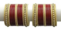 {Extra 20% Discount} Indian Traditional Style Charming Crystal Stud Maroon Bangles Partywear Jewellery (2.6)