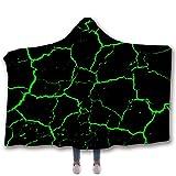 RENYAYA Kapuzenwolle-Decke, Kopftuch, 3D-Bedruckte doppelte Dicke Wolle, um warme Decke zu halten, tragbare Wurfdecke Mikrofaser,103,130 * 150cm