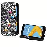 deinPhone HTC One M8 Kunstleder Flip Case Comic Muster Grau