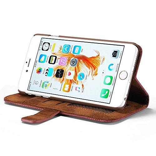 iPhone 6S Plus Custodia, Cover iphone 6 Plus - Dfly Custodia In Pelle Con Invisibile Forte Inarcamento Magnetico Doppio Side Magnete Design Flip Cover Per Apple iPhone 6S / iPhone 6, Grigio Blu