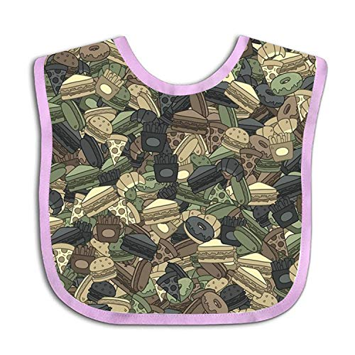 Funny Fast Food Camouflage Baby bibs - Cotton Terry Baby Terry Bib Camouflage-baby-bib