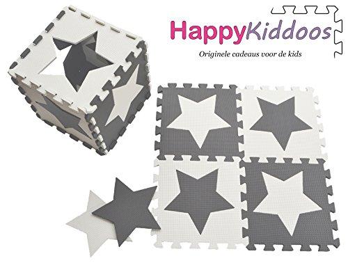 *Happykiddoos Puzzlespielmatte 10 Foam Matte. Spielmatte Schaumstoff Verriegelung Puzzle Kinderteppich. Jede Matte Hat Eine Größe von 30x30cm und ist 1 cm dick (Stern, Grau/weiß)*