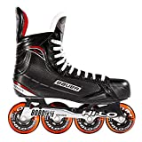 Bauer Inlinehockey Skates XR400 SR 76A Court, Größe wählbar, ABEC 5 Bearing, HI-LO Steel Chassis, Thermoformbar, Anatomical Foam Padding, Microfaser