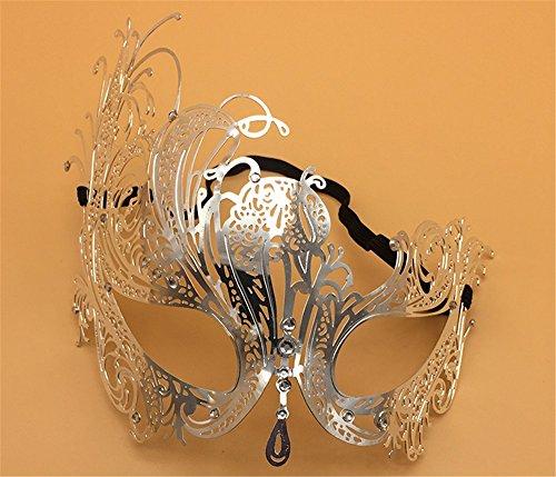 Venezianische Metallmaske Ball Phoenix Halbmaske Weibliche Party Schmiedeeisen Maske, Silber - Schmiedeeisen Ball