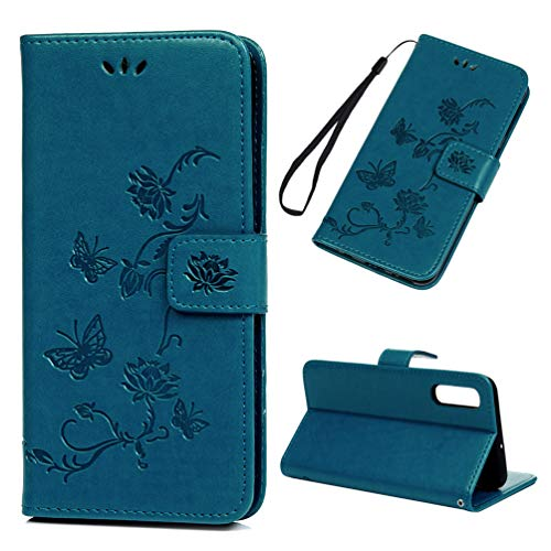 Edauto Galaxy A50 Hülle Case für Samsung Galaxy A50 HandyHülle Lotus Schmetterling Leder Flipcase Schutzhülle Brieftasche Flipcover Tasche Ständer Magnetverschluss Kartenfach Handytasche Blau -