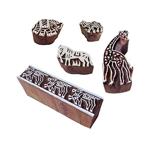 Royal Kraft Künstlerisch Designs Tier und Giraffe Hölzern Blöcke Stempel (Set von 5) -