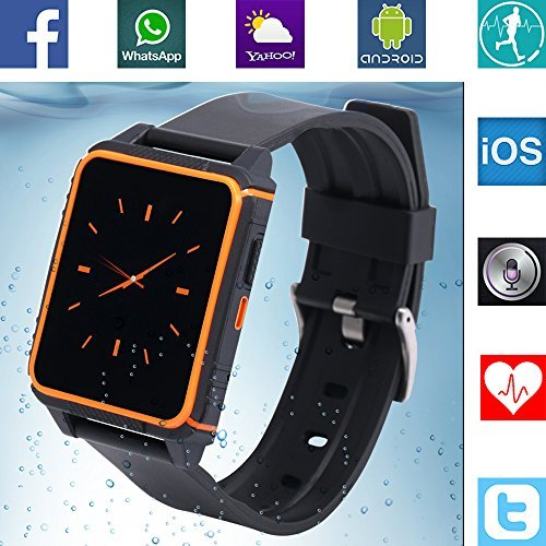 Banaus-B2-IP68-Waterproof-Sport-SmartWatch-Heart-Rate-Monitor-Bluetooth-40-Nano-SIM-for-Samsung-S4-S5-S6-S7-Note3-Note4-Note5-Note6-HTC-Sony-LG-Xiaomi-Huawei-ZUK-iPhone-5-5C-5S-6-6S-Black-Orange