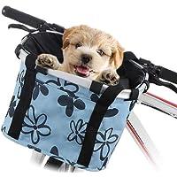 Cesta De Bicicleta Para Bicicleta - Portabicicletas Plegable Para Mascotas Pequeñas Para Perros, Canasta De Manillar De Bicicleta Desmontable, Bolsa De Ciclismo Desmontable Multiusos Para Mascotas