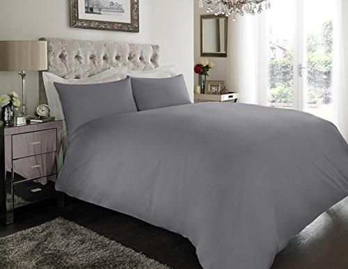 Sapphire Collection 100% ägyptische Baumwolle Fadenzahl 200Bettbezug mit Kissen Fall Bettwäsche-Set alle Größe, grau, Doppelbett