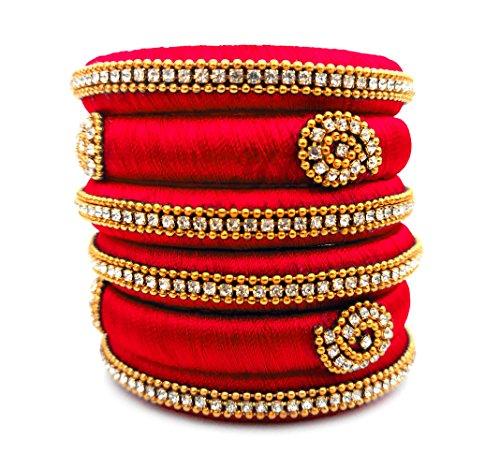 Youth Red Silk Thread Bangle Set
