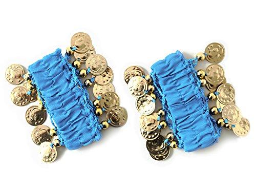 Belly Dance Handkette Armband Handschmuck Fasching Tanzen Bauchtanzen Handgelenk Manschette Verkleidung Armbänder mit goldfarbenen Münzen (Paar) in hellblau (Münze Für Kostüm)