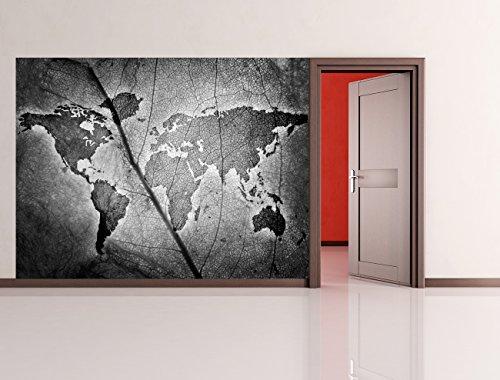 bilderdepot24-carta-da-parati-in-tnt-foglio-di-mappa-del-mondo-bianco-e-nero-200x150-cm-pasta-inclus