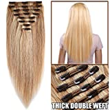 Extension a Clip Cheveux Naturel Rajout Vrai Cheveux Humain Maxi Epaisseur - 100% Remy Hair - 8 Pcs Clip in Human Hair Extensions Double Weft (#18+613 SABLE BLOND MECHE BLOND CLAIR, 30cm-115g)