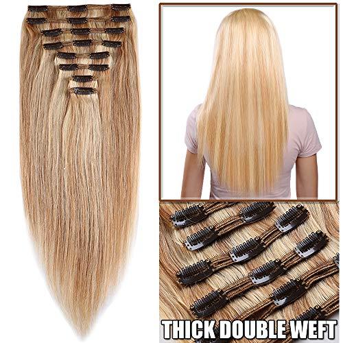 Extension capelli veri clip meche volumizzante - 30cm 115g - 8 fasce folte double weft full head 100% remy human hair lisci, 18#/613# beige sabbia biondo/bleach biondo