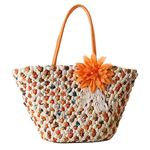 Zhhlaixing Casual Fashion Flower Straw Bag Vacation Woven Beach Bags Handbag Summer Beau sac spécial for Women Orange