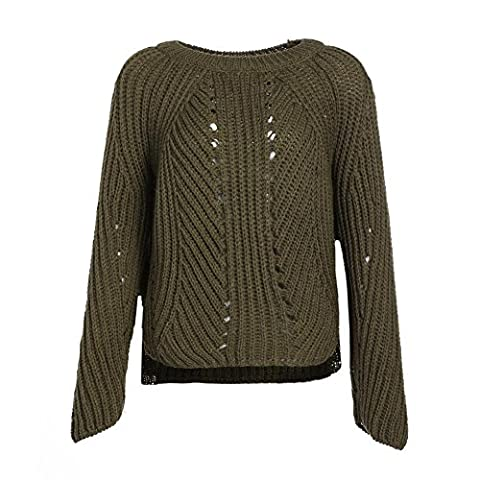 women sweater knit hollow crewneck long sleeve loose tops elasticity sweatshirts pullovers . army green . one