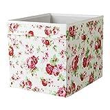 """'IKEA Regalfach """"DRÖNA Aufbewahrungsbox Regaleinsatz in 33x 38x 33cm (W x D x H) weiß, FLORAL PATTERNED, STORAGE"""