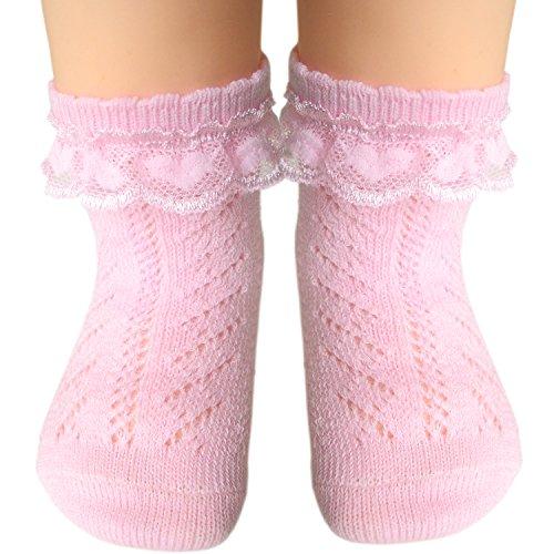 JHosiery Baby Mädchen Söckchen mit Flachnaht für empfindliche Füße (19-22/12-24M, 2 Paar Rosa) - Empfindliche Kinder