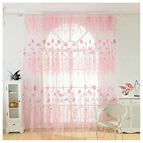 Cutogain fiore sheer voile porta finestra tenda a pannello mantovane per soggiorno camera da letto ufficio, rosa, 100cm x 270cm