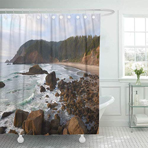 Presock Duschvorhänge, Shower Curtain 60 x 72 inches Oregon Ocean Coast at Sunset View to The Indian Beach in Ecola State Park USA Set with Hooks Decorative Polyester Fabric Bathroom Shower Curtains (X 72 Duschvorhang 60)