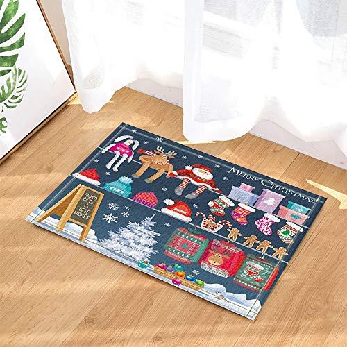 dekoration Santa Spielzeug Shop Neujahr Geschenke Rutschfeste Fußmatten Bad Matten 40x60CM ()