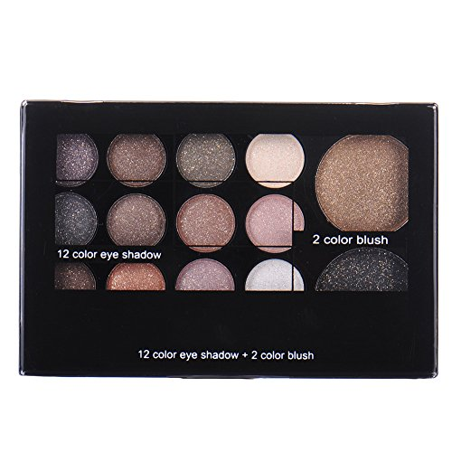 Greencolourful Professionellen 12 Farben Lidschatten Eye + 2 Farben Blush Makeup (6#)