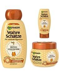 Garnier Wahre Schätze Shampoo + Spülung + Maske  Honig, je 1er Pack