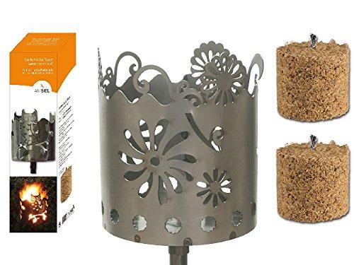 Gartenfackel auf Stecker 'Gerbera', aus Metall, Höhe: 128 cm , Ø 15cm, INKL. 2 Holzbrennelementen Garten Sommer Fackel Windlicht
