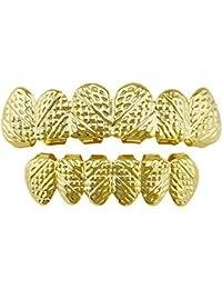 Bangxiu Chapado en Oro Parrillas de Textura Oblicua Conjunto Superior e Inferior de 6 Dientes Hip Hop (Color : Rose Gold)