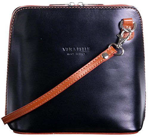 Tan Leder Damen Mini (Primo Sacchi Italienisches Leder handgemachte Black And Tan klein/Micro Umhängetasche oder Schultertasche Handtasche.Beinhaltet eine schützenden Aufbewahrungstasche gebrandmarkt.)