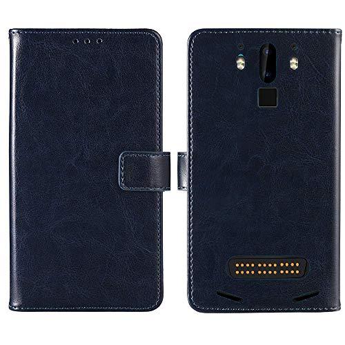Lankashi Premium Retro Business Flip Book Brieftasche Leder Tasche Schütz Hülle Handy Telefon Case Für Doogee S90 / S90 Pro 6.18 inch Abdeckung Wallet Cover Etui Holder (Dark Blau)
