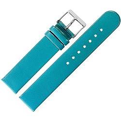 Uhrenarmband 20 mm Leder türkis glatt - Ersatzband für Uhren aus echtem Rindsleder - klassisches Uhrband mit geradem Bandverlauf - Marburger Uhrenarmbänder seit 1945 - türkis / silber