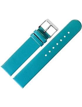 Uhrenarmband 18mm Leder türkis glatt - inkl. Federstege & Werkzeug - Ersatzband für Uhren - Uhrband mit Schlaufe...